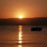 Sun rise over the sea of galilee