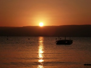 Sun rise over the sea of galilee